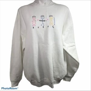 NURSE Embroidered Sweatshirt Women's XL White